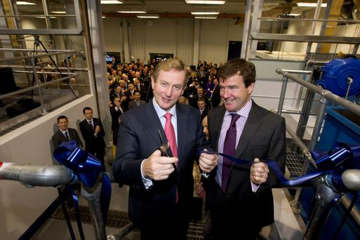 Taoiseach Enda Kenny with Conor McCarthy, Dublin Aerospace