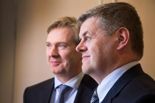INM Editor in Chief Stephen Rae with Chief Executive Officer Robert Pitt at last week's annual general meeting of the media group Photo: Colm O'Riordan
