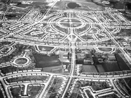 Aerial view of the new estates of Crumlin in Dublin during the 1950s from the NPA/Independent Newspapers Collection