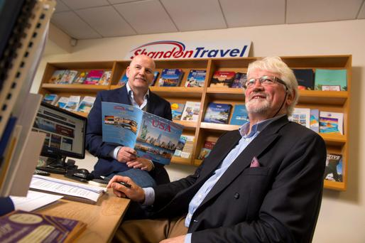 Sean Gallagher with Michael Doorley of Shandon Travel. Photo: Michael MacSweeney