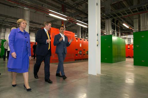 Tánaiste Frances Fitzgerald, Taoiseach Enda Kenny, Ronan Harris, VP and head of Google Ireland. Photo: Shane O'Neill