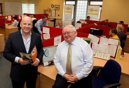 Sean Gallagher with Aidan Harte at the Optimum Results HQ in Dundalk. Photo: Tom Conachy