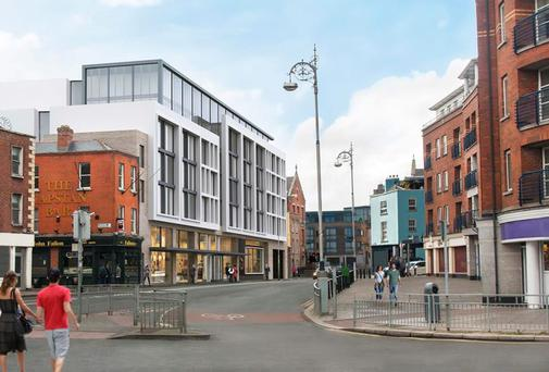The proposed hotel on Dean Street near St Patrick's Cathedral in Dublin