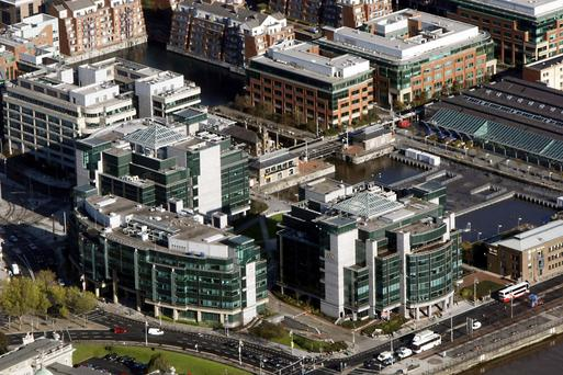 Arial view of the IFSC in Dublin