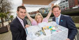 Former Dunnes Stores executive James Fox, left, at the launch of his partnership with Unicef with author Cathy Kelly, Unicef brand ambassador, and Peter Power, executive director of Unicef Ireland