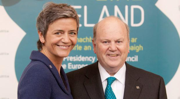 Margarethe Vestager and Michael Noonan will battle over Apple's 2pc tax rate in Ireland