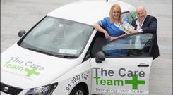 Sean Gallagher with Cora Murphy from The Care Team. Photo: David Conachy