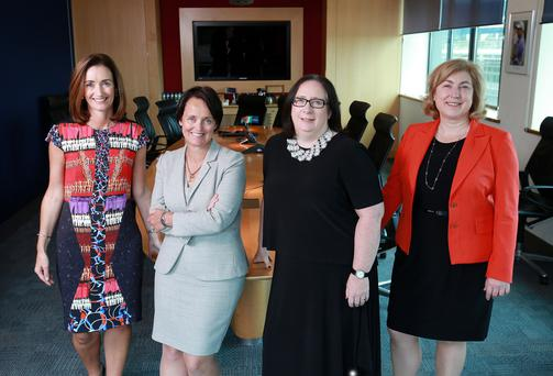 Aisling Dodgson, Head of Treasury, Investec with Julie Fenton, Assurance Partner EY, Orla Coughlan, Chief Human Resources Officer at EIR and Orla Nugent MBA Programme Director. Photo: Frank Mc Grath
