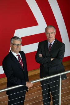Chief financial officer Alan Doherty and Ceo and chairman Sean Corkery at yesterday's announcement. Photo: Shane O'Neill