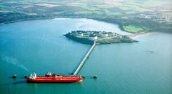 An aerial view of Whitegate, Ireland's only oil refinery