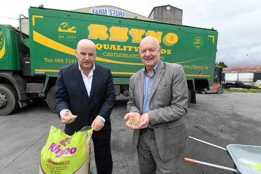 Sean Gallagher and Paudie O'Connor at the Rhyno Mills headquarters in Castleisland. Photo: Domnick Walsh