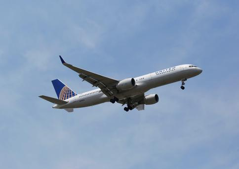 A United 757 – the aircraft used on the route – over New York