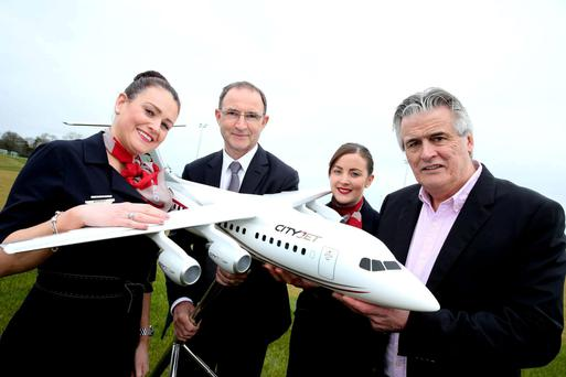 CityJet boss Pat Byrne pictured with Ireland football manager Martin O'Neill earlier this year, as the airline was named official airline partner of the Football Association of Ireland