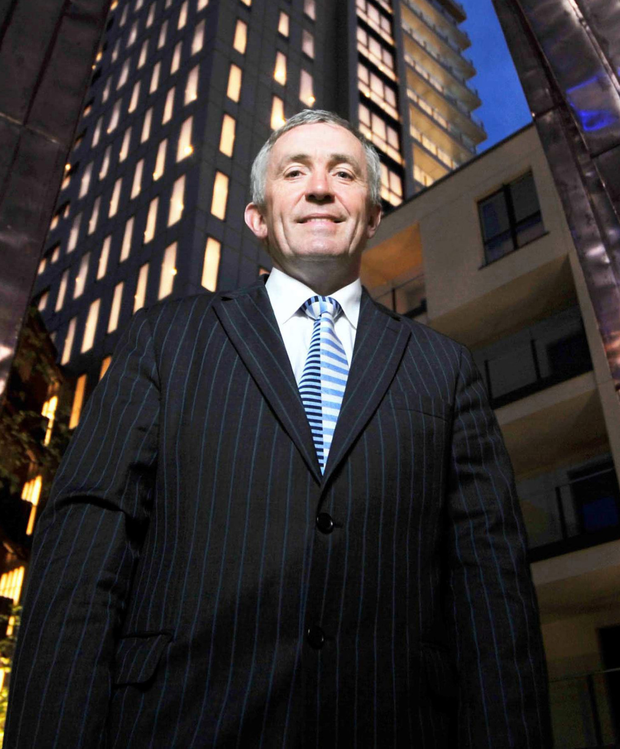 Michael O'Flynn outside Cork's Elysian Tower, which is now owned by the US fund Blackstone. Photo: Daragh Mac Sweeney/Provision