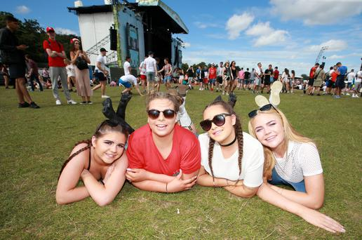 Chloe Melia Meagan Swift Alex Duggan and Shannon Melia at Longitude 2016 in Marlay Park