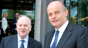 Finance Minister Michael Noonan and Robert Gallagher, chief executive of Activate Capital, at the launch of Activate Capital in Dublin in July 2015. Photo: Tom Burke