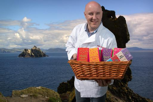 Chocolate maker Colm Healy with a selection from his Skelligs Chocolate range