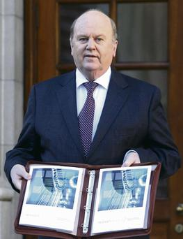 5/12/2012 Minister for Finance Michael Noonan TD at the the steps of Government Buildings prior to delivering Budget 2013.Pic Collins Photos