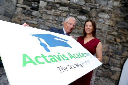 Nick Hewer of the BBC's 'The Apprentice' and Channel 4's 'Countdown' fame, and Marguerite Tierney, product manager, Actavis, at the launch of the Actavis Academy Training & Mentoring Bursary. Photo: Jason Clarke