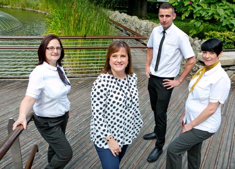 Catriona O'Meara, Alison Hodgson, Dominik Grygielewicz and Jenny Grant of McDonald's Ireland. McDonald's Restaurants of Ireland recently announced that its workforce here has reached 5,000 employees across 90 restaurants. The fast-food giant says it is committed to lifelong learning, and 95pc of its restaurant managers starting off as crew members. Photo: Chris Bellew/Fennells