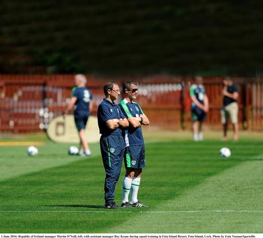 Republic of Ireland football manager Martin O'Neill with assistant manager Roy Keane during squad training in Fota Island Resort in Cork last June in advance of the Euro 2016 football tournament in France