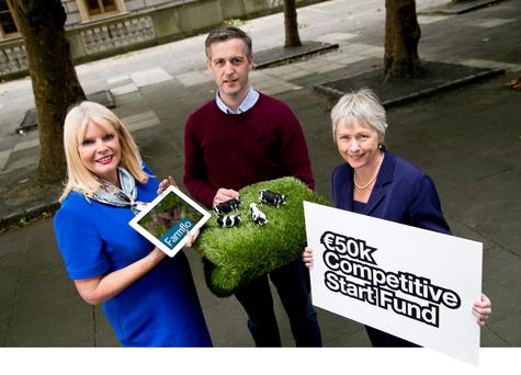 Minister for Enterprise Mary Mitchell O'Connor, Richard Fairman of FarmFlo, and Anne Lannigan of Enterprise Ireland at the launch of the fund