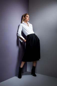 A shirt by Louise Kennedy and Turnbull and Asser, with an Inez black crepe skirt