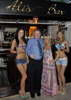 Models Dana Arikane and Felicia Torica with Charlie Chawke and Ali Chawke at the Launch of Alis's Bar in the Orchard bar in Rathfarnham in 2010