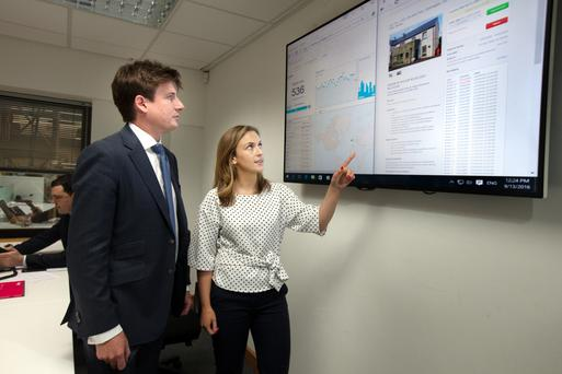 Allsop associate director Ellen Prenderville consults with the firm's commercial director Robert Hoban during last Tuesday's online auction, in which 146 properties were sold