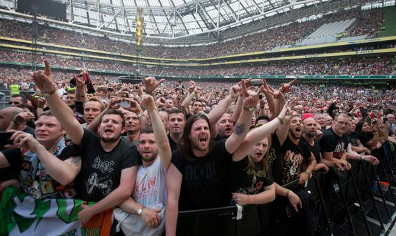 Fans of rock group AC/DC fill the Aviva Stadium in Dublin in 2015