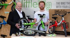 Sean Gallagher with Simon Evans, inventor of the LittleBig bike. Photo: David Conachy