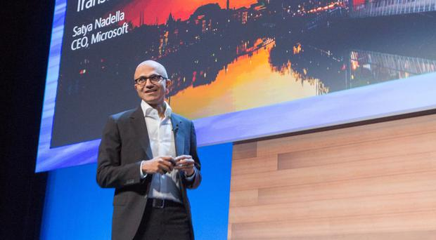 Satya Nadella, ceo, Microsoft, speaks to attendees at the Microsoft Ireland Tech Gathering on October 3, 2016. Photo: Naoise Culhane