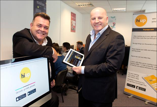 Brendan Kavanagh of Hiup and Olive Media with Sean Gallagher. Photo: David Conachy