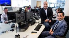 Eamon Moore and Sean Gallagher at the EMIT offices in Santry. Photo: David Conachy
