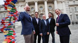 Taoiseach Enda Kenny with the co-founders of Genomics Medicine Ireland, Daniel Crowley, Paul Thurk, Sean Ennis and Maurice Treac. Photo: Conor Healy Photography
