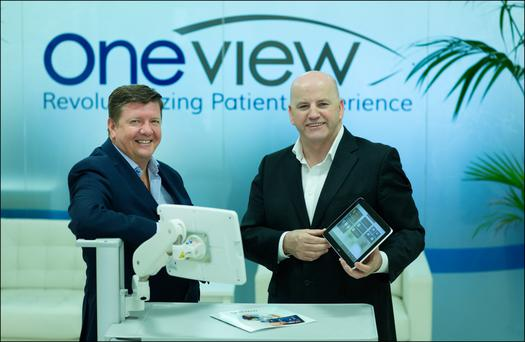 Mark McCloskey and Sean Gallagher at Oneview HQ. Photo: David Conachy