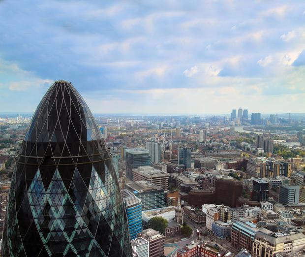 London could see the loss of up to 100,000 workers - the equivalent of 20 skyscrapers the size of the 'Gherkin' - once the UK begins the process of departing the EU