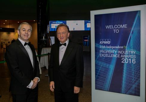 Commercial Property Editor Ronald Quinlan and Sean Mulryan, who was the winner of the Overall Award and the Property Entrepreneur of the Year award at the 'Irish Independent' Property Excellence Awards 2016, held at the National Convention Centre. Photo: Iain White