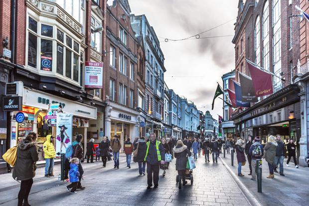 Grafton Street ranks internationally while the vacancy rate in Ireland's other cities is now falling