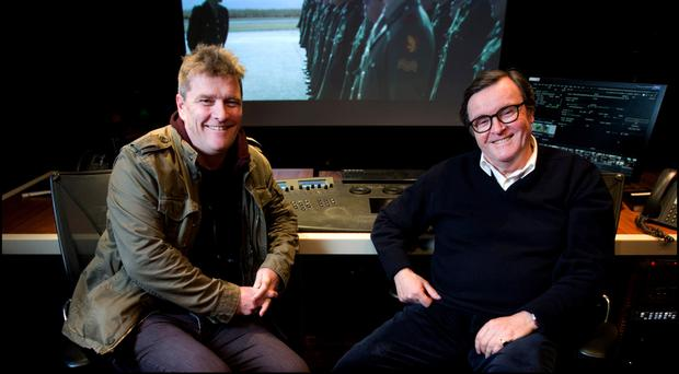 Film producer Alan Moloney and TV3 founder James Morris in Windmill Lane Studios, Dublin. Picture: David Conachy