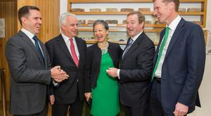 Martin Shanahan, ceo IDA Ireland, Alan Laing, EVP, Global Strategic Partnerships Sage, Jacqueline De Rojas, MD Northern Europe, Sage, Taoiseach Enda Kenny, and Stephen Kelly, ceo Sage