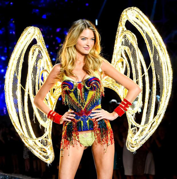 A Victoria's Secret model wearing an outfit decorated with Swarovski Crystals