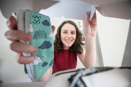 Sarah Walsh, who came up with the idea for her Baba Box when she returned to Dublin to give birth to her son Ted after 10 years in London Picture: Mark Condren