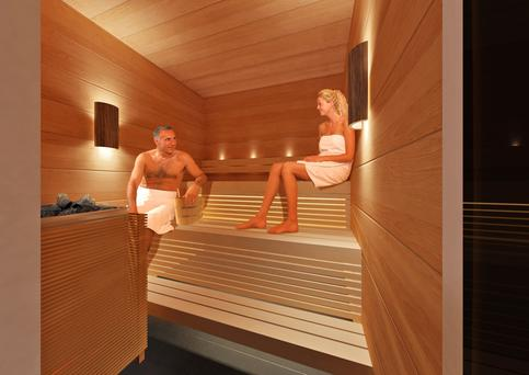 Finnair sauna at Helsinki Airport