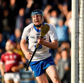 Shane Bennett celebrates after scoring a goal for Waterford in the final of the U-21 hurling champtionships, which are already backed by BGE