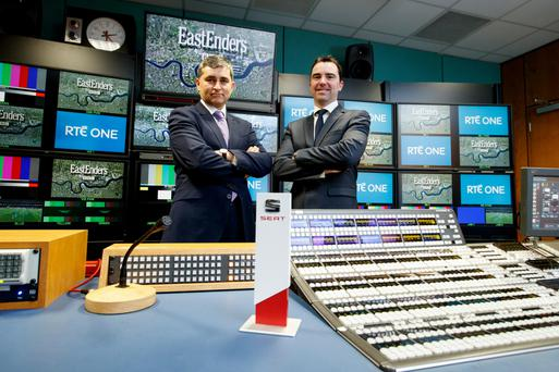 Dermot Horan, acting MD, RTÉ Television and Neil Dalton of SEAT which sponsors EastEnders