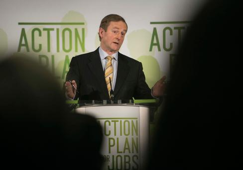 Taoiseach Enda Kenny speaking at the launch of the Action Plan for Jobs 2017 – unemployment has eased to 6.6pc, but people don't seem any happier with the government