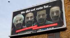 An Anti-Brexit billboard commissioned by the 'stopthesilence' campaign hangs on a street corner in London, England. Photo: Getty Images