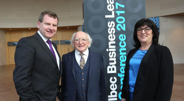 Ibec ceo Danny McCoy; President Michael D Higgins; and Anne Heraty, Cpl Resources ceo and president, Ibec. Photo: Gary O'Neill