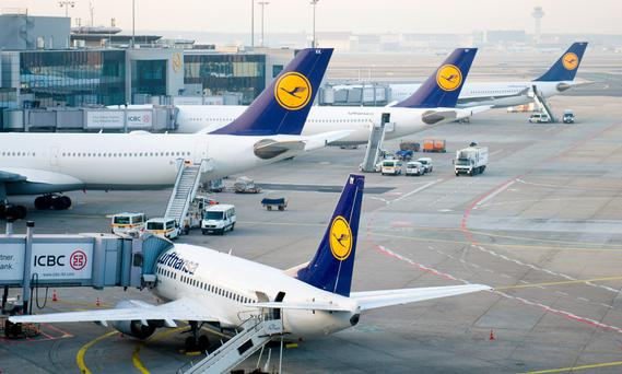 Aircrafts of German carrier Lufthansa stand on the tarmac at the Frankfurt am Main airport, Germany